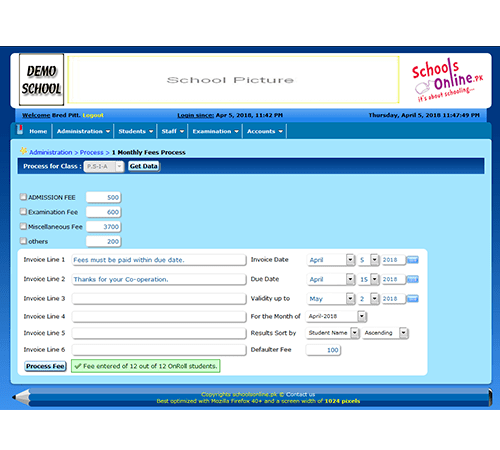 Fee processing screen